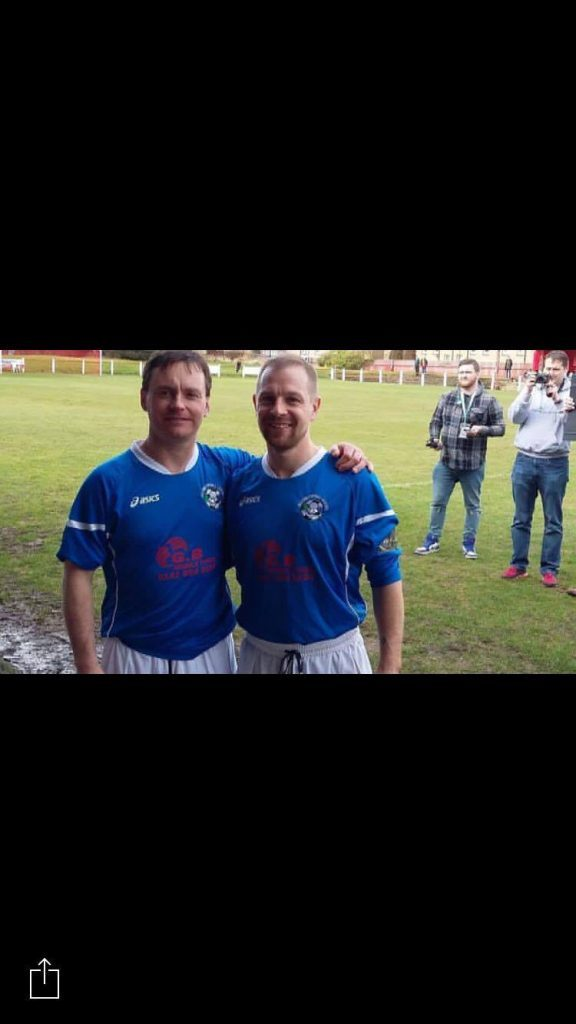 Kenny Wotherspoon and Iain MacKechnie wearing the blue, white and red Rangers tops.