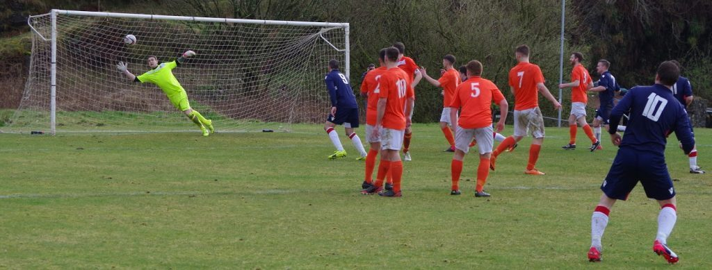 Willie Gemmell, No 10, curls this free kick past Letham keeper Steven McEwan to make  the score 3-2.