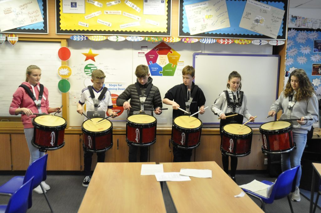 The pipe band drumming class show off what they have learned. 17_t15Feis14