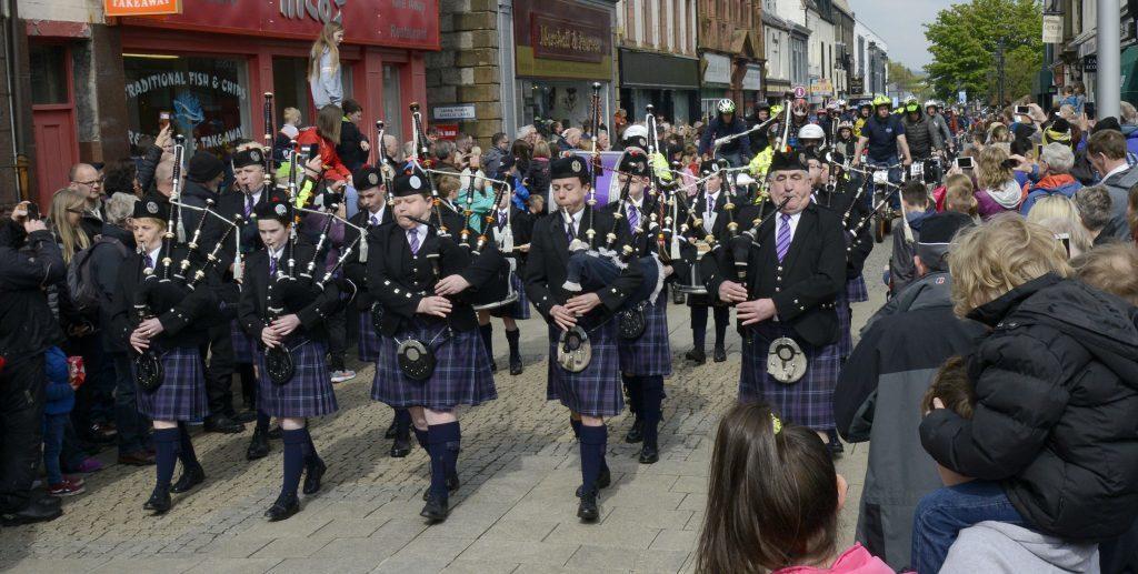 Lochaber Pipe Band led the parade along  the High Street.  Photograph: Iain Ferguson, The Write Image