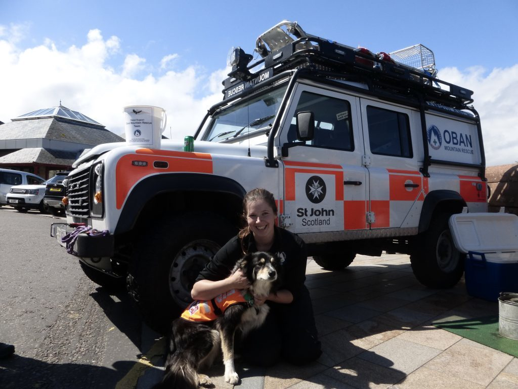 Oban Mountain Rescue were on hand keeping everyone fuelled up with burgers. Marie Porter is pictured with Fly.