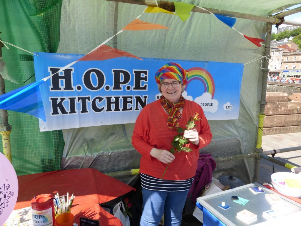 Beth Campbell from Hope Kitchen was all smiles and rainbows. The stall quickly sold out of its tablet and cupcakes, with Beth saying she could have sold them three times over. Photograph: Alan Windram