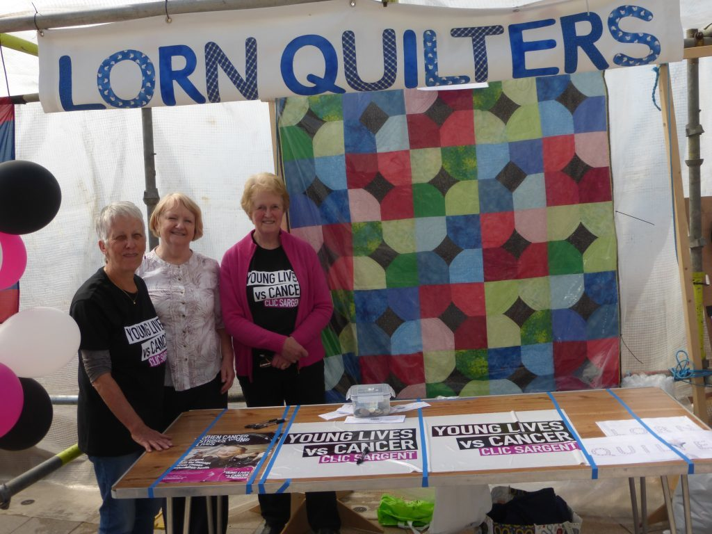 Lorn quilters were raising money for cancer charity Clic Sergeant. Pictured are Jessie Smart, Isobel Campbell and Sheena Dodman. Photograph: Alan Windram