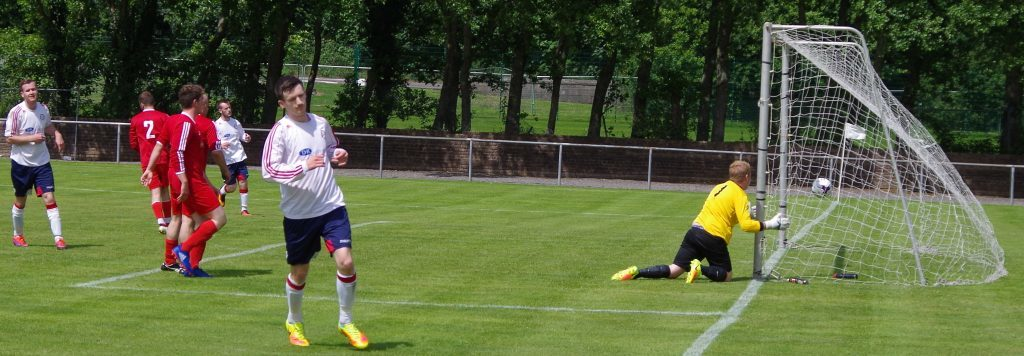 Craig MacEwan turns away after netting the second goal against South Lochaber.