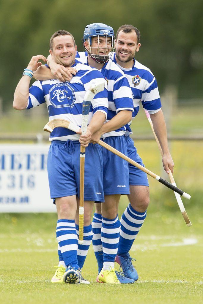 Newtonmore's three goal scorers: Glen Mackintosh, Iain Robinson and Evan Macrae.  Photograph: Neil Paterson.