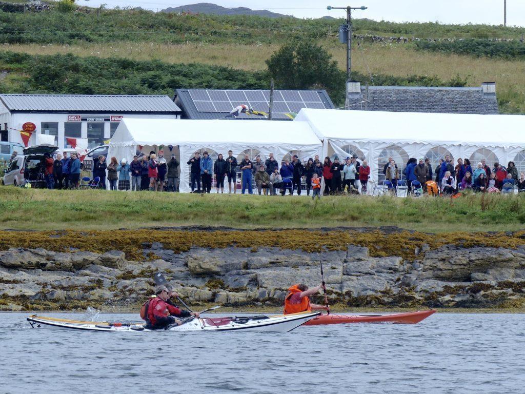 The men's canoe event underway