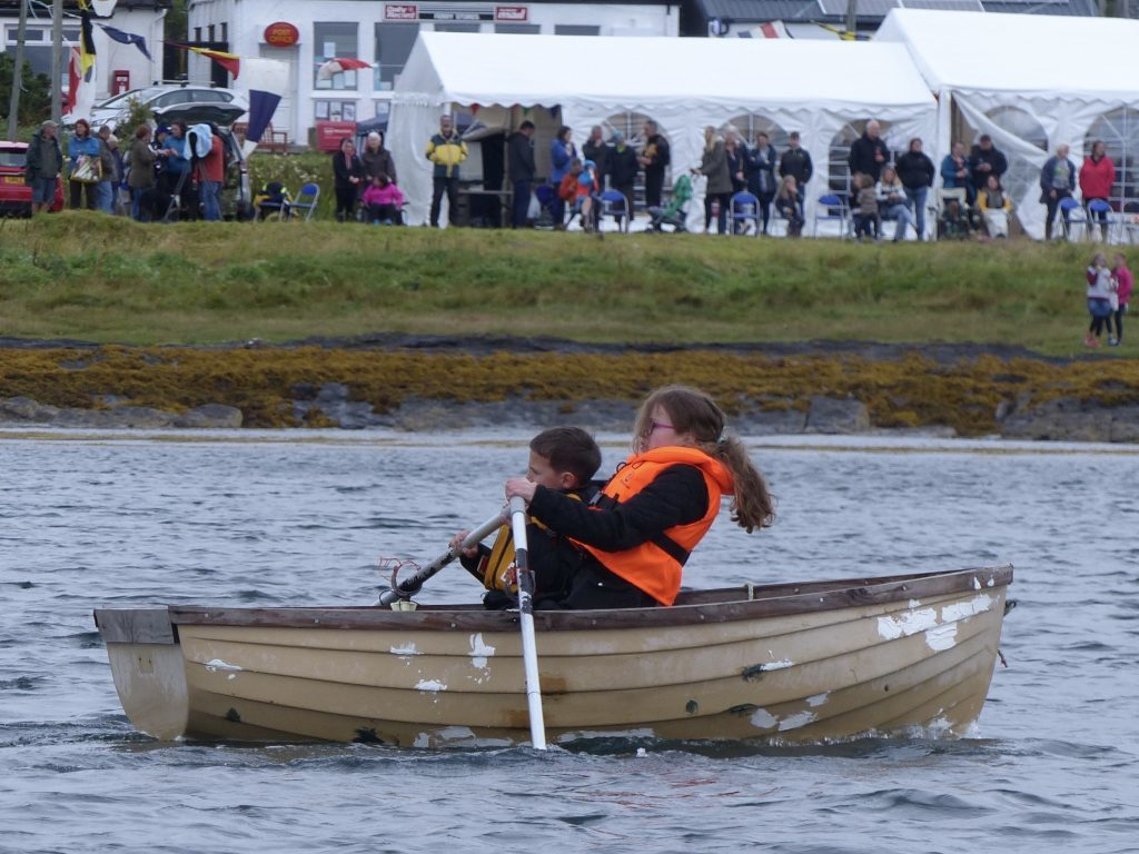 Youngest competitor Allan Curtis and Emma MacLachlan show plenty of determination in their event
