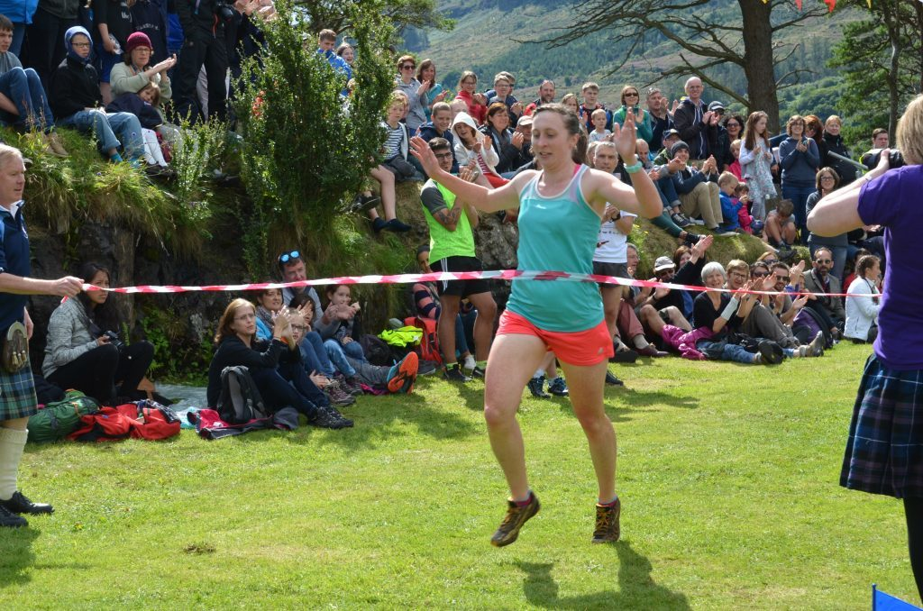 Skye's Christina Rankin wins the ladies' race. Christina was also the first lady to finish the Hill Race for the 11th successive time. F33 Skye Games 16NO. Photo: Sara Bain.