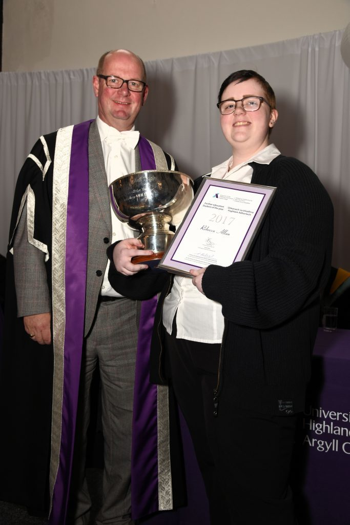 FE Student of the Year Rebecca Allan with Garry Coutts, chairman of the UHI Court.
