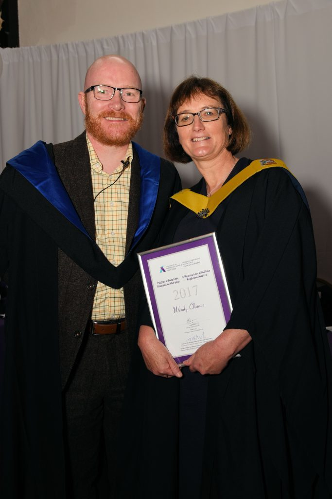 HE Student of the Year Wendy Chance with Gary McLean.
