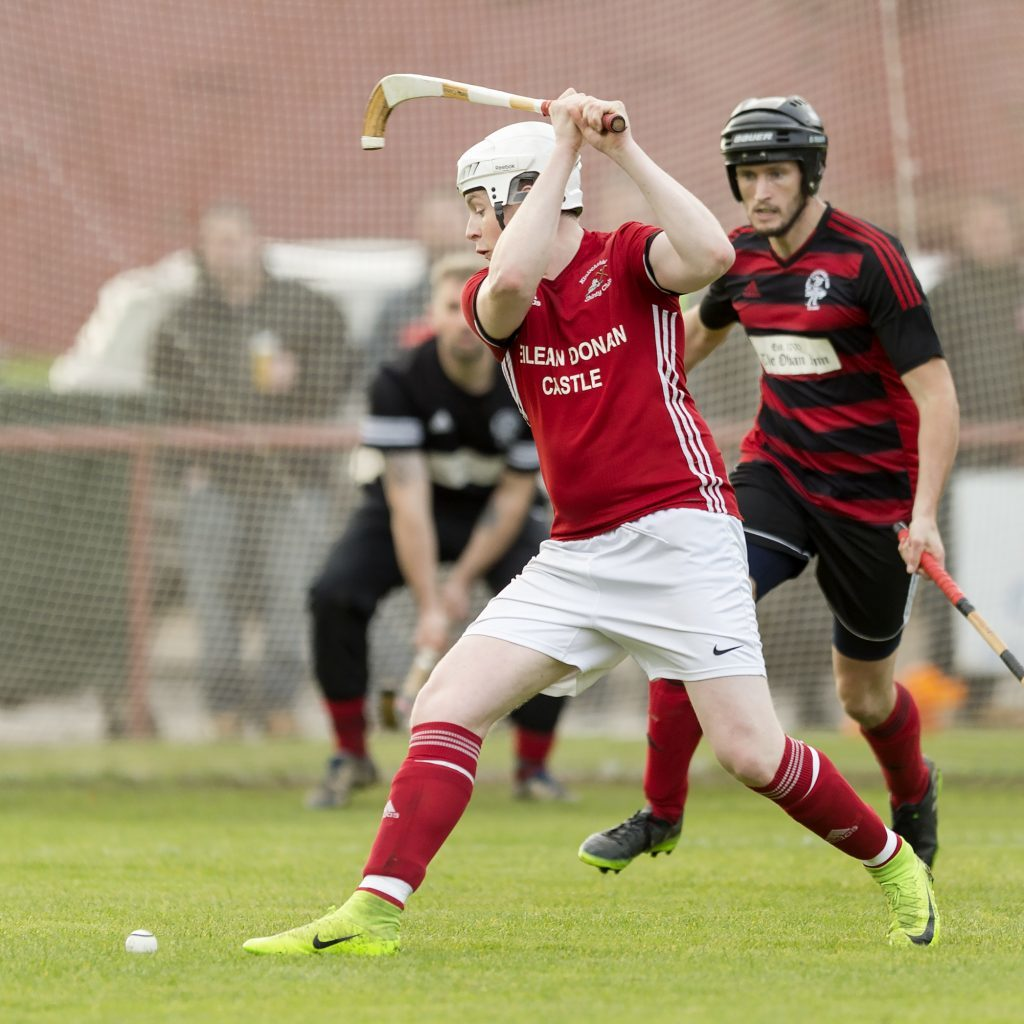 Kinlochshiel's Jordan Fraser gets ready to pull the trigger for one of his two goals.
