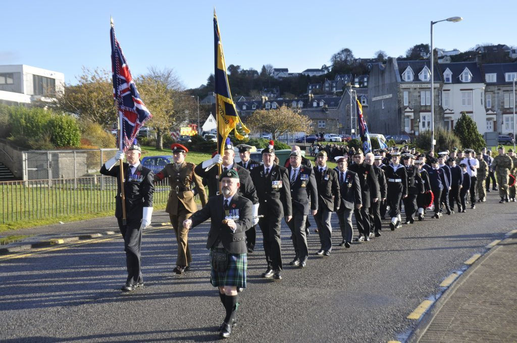 Sergeant Major Frank McKenna leads the march. 17_T46_RemembranceSunday01.