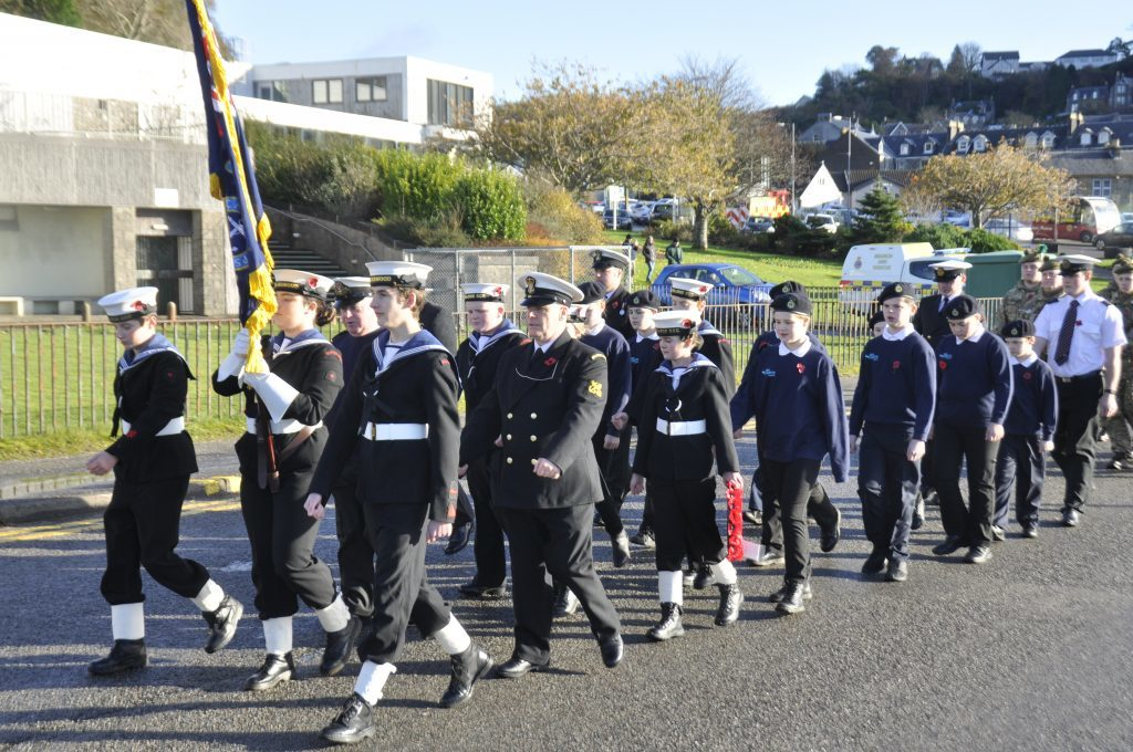 The Oban Sea Cadets during the march. 17_T46_RemembranceSunday02