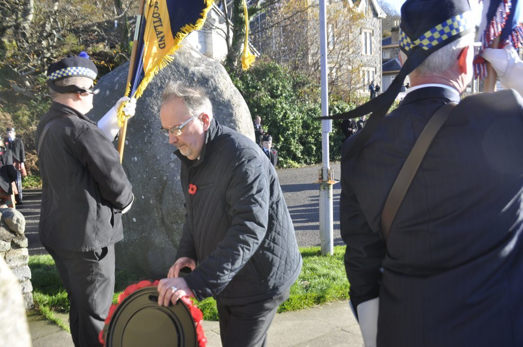 Argyll and Bute Councillor, Jimy Lynch, places a wreath on behalf of Argyll and Bute Council. 17_T46_RemembranceSunday07