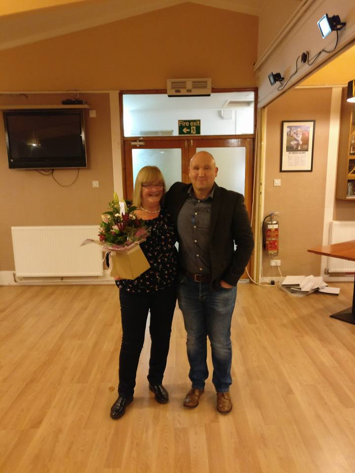 Club treasurer Fiona Livingstone won the Unsung Heroine Award which was presented by Chris Ecclestone.