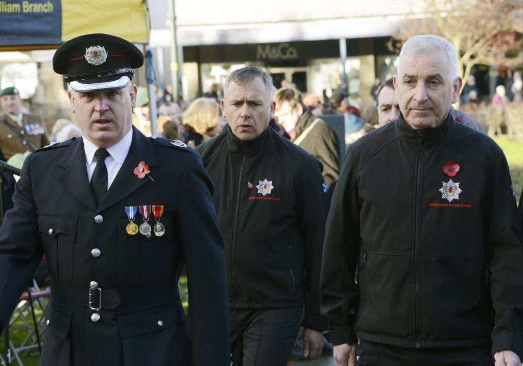 l-r: Pat McElhinney, with Raymond King and Colin McAndrew from the Lochaber branch of the Scottish Fire and Rescue Service. IF F46 Remembrance Fort 02. Photo: Iain Ferguson, the Write Image.