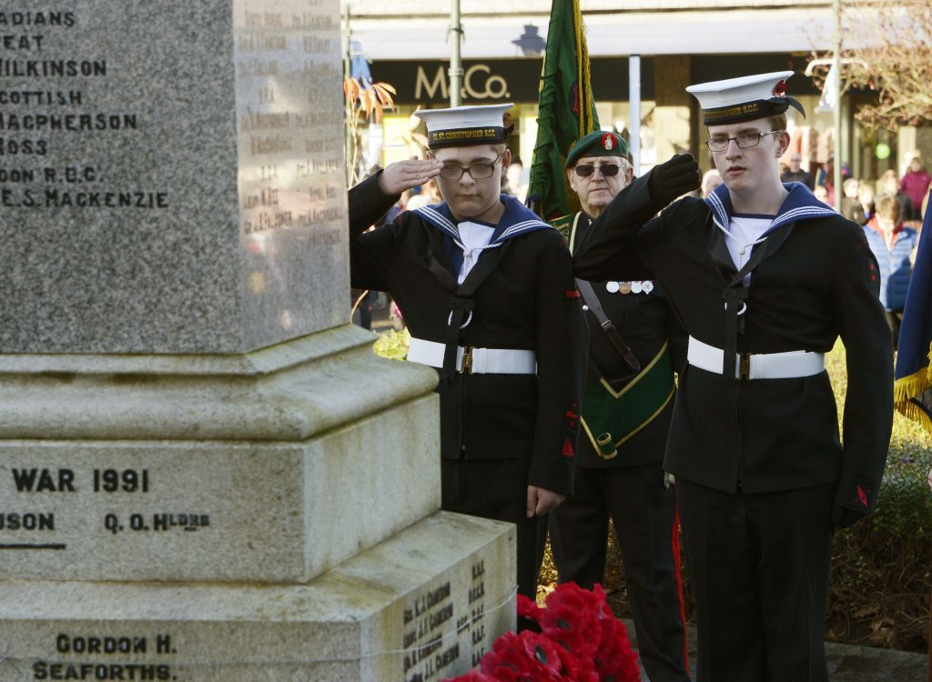 Ordinary cadet Cameron Campbell and ordinary cadet Finlay Dempster laid a wreath on behalf of the Sea Cadets. IF F46 Remembrance Fort 04. Photo: Iain Ferguson, the Write Image.