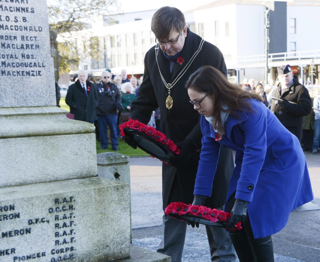 Councillor Andrew Baxter and Lochaber MSP Kate Forbes lay wreaths at the memorial in Fort William. Photo: Iain Ferguson, the Write Image.