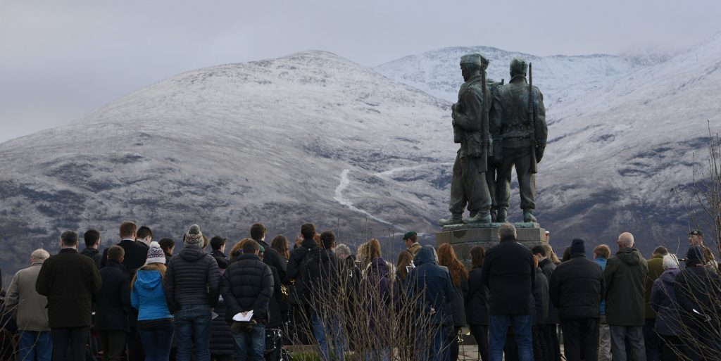 Snow on the hills above the Commando Memorial provided a stunning backdrop to the service. IF F46 Remembrance Spean 03. Photo: Iain Ferguson, the Write Image.