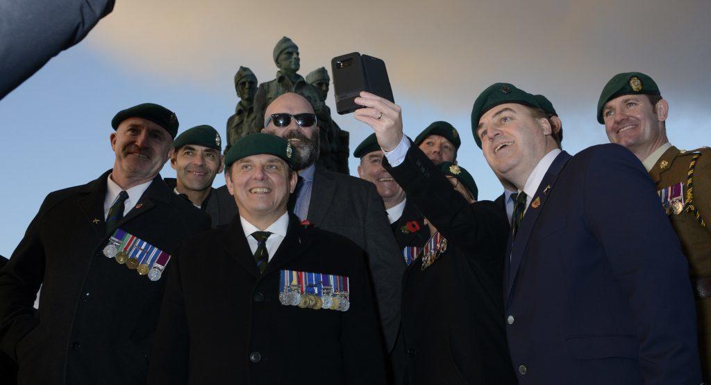 Veterans at the Commando Memorial take a quick selfie. IF F46 Remembrance Spean 04. Photo: Iain Ferguson, the Write Image.