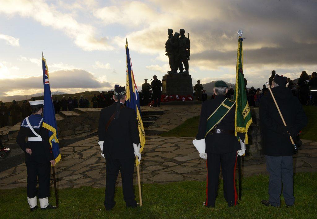 The sun sets over the Commando Memorial. IF F46 Remembrance Spean 08. Photo: Iain Ferguson, the Write Image.