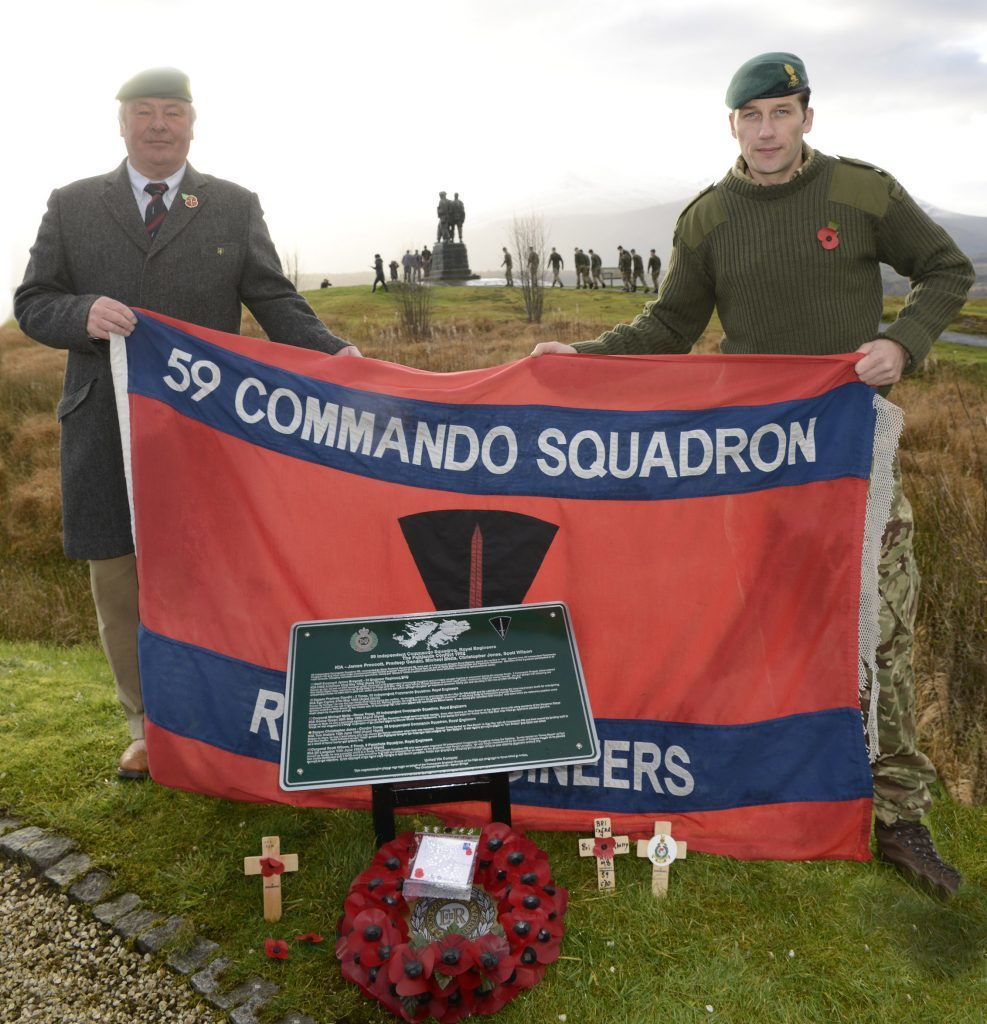 John Monks (left) of the Royal Engineers Association and  Captain Stefan Siemieniuch RE of 59 Independent Commando Squadron, Royal Engineers unveil the first plaque to recognise those Army Commando Engineers who lost their lives in the Falklands War. IF F46 Remembrance Spean 11. Photo: Iain Ferguson, the Write Image.