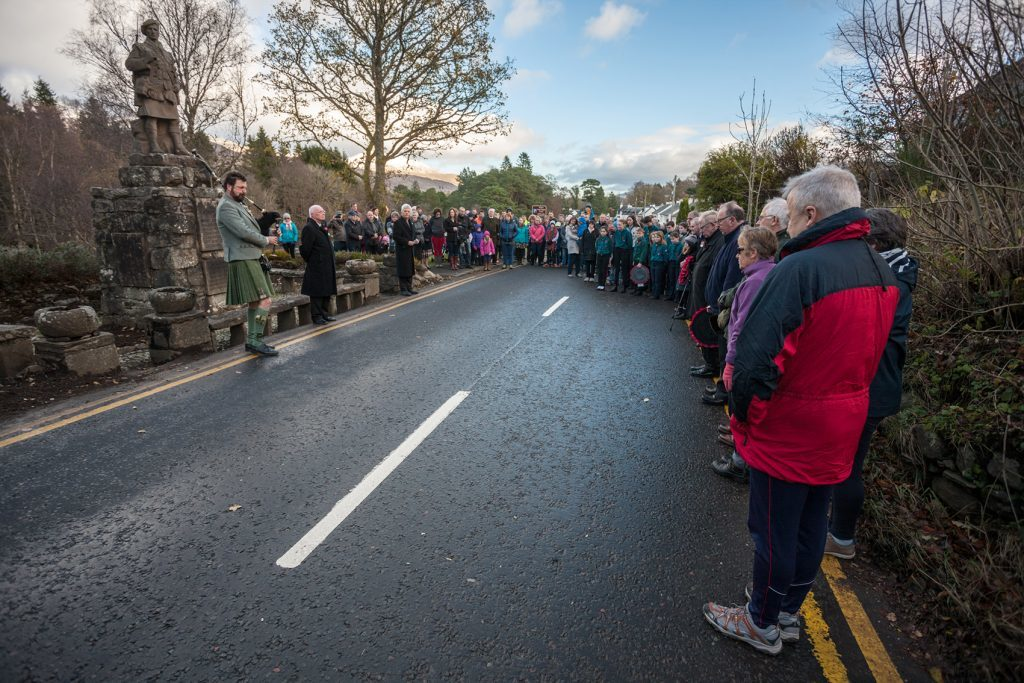The Killin Memorial Service was held by the Minister of Killin and Adeonaig Parish Church Rev. Russell Moffat, the service was very well attended by locals and visitors. NO_T45_RemembranceSunday_Killin02