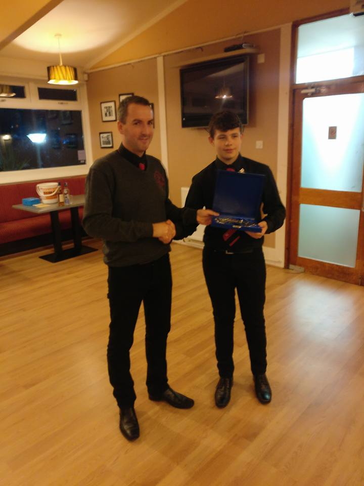 The Under 14 Player of the Year was Ross Campbell who was presented with his award by Steven Sloss.