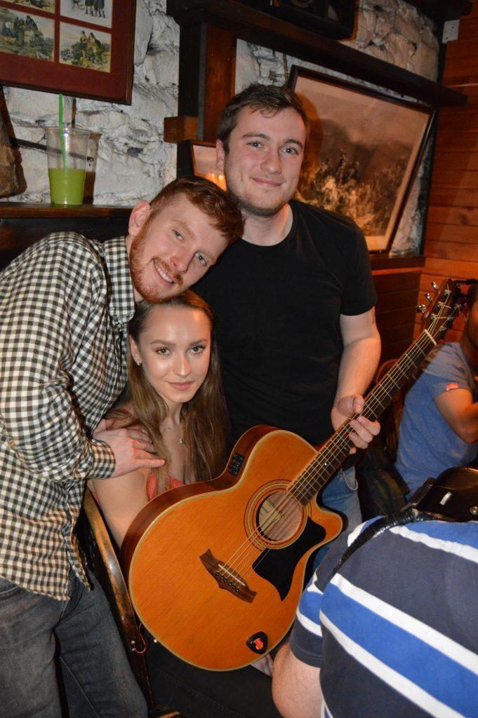 Guitarist Aiden 'Kite' MacDougall, Kieran Carnie and Sophie Morris.