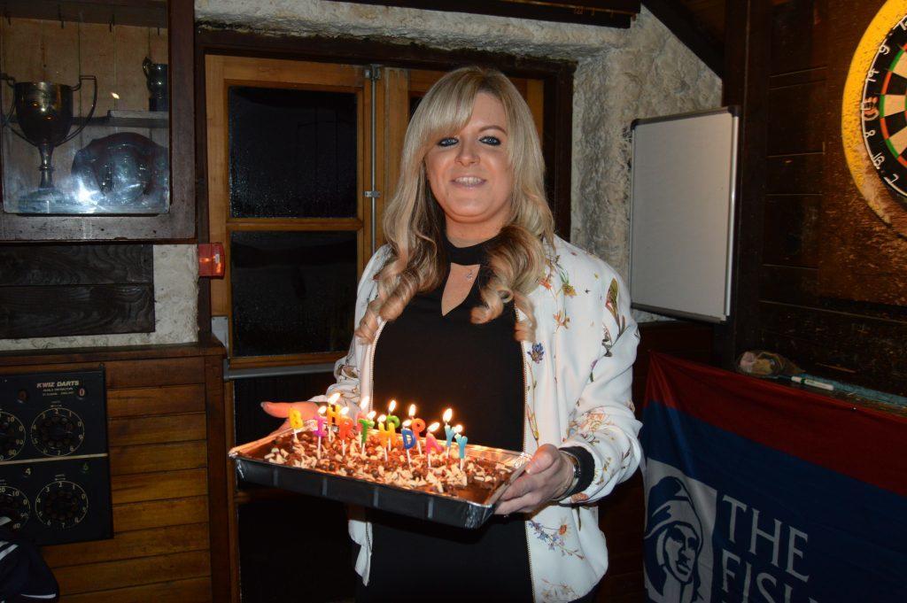 Vanda Brown had a surprise birthday cake for her partner Darren.