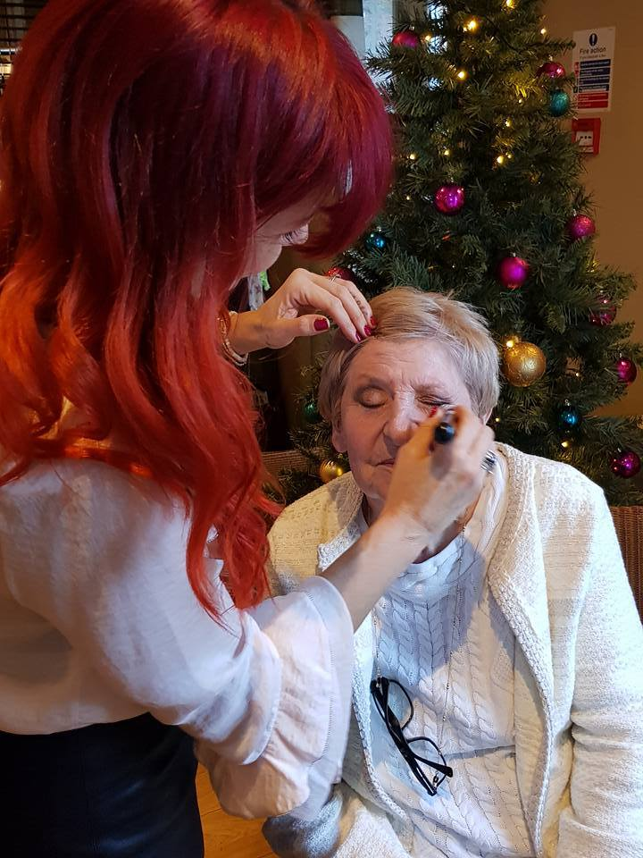 Joanne Coleman does make-up for Shirley Pullen of Dunoon.