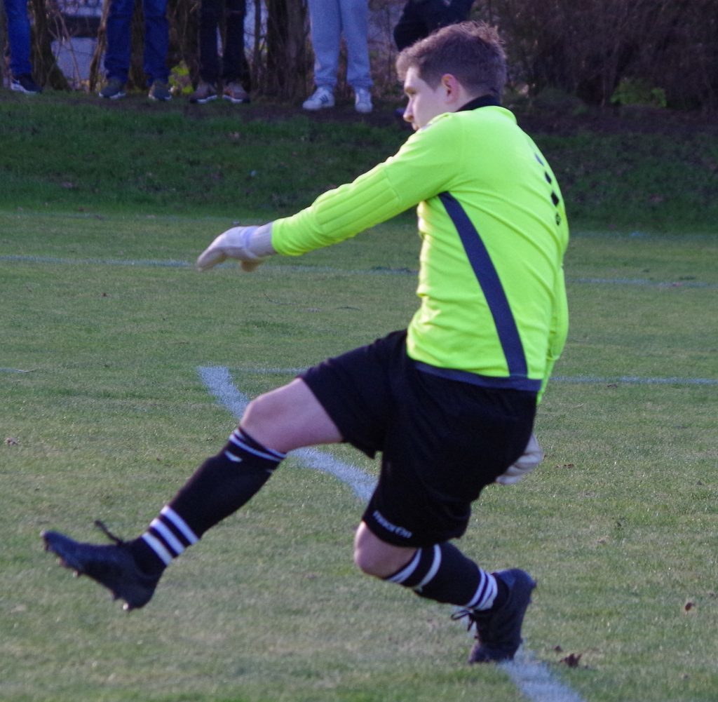 Saints keeper Graham Douglas brought off a great save in the 78th minute.