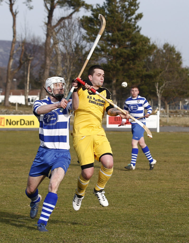 Inveraray's Craig Taylor in action during last Saturday's pre-season friendly against Newtonmore. Photograph: Stephen Lawson.