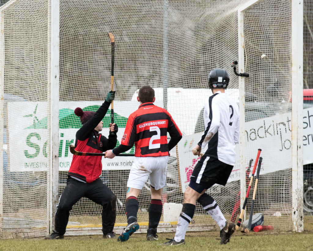 Glenurquhart keeper Stuart MacKintosh can only look on as Lorne Dickie's shot flies into the net for the  equaliser. Photograph: Donald Cameron.