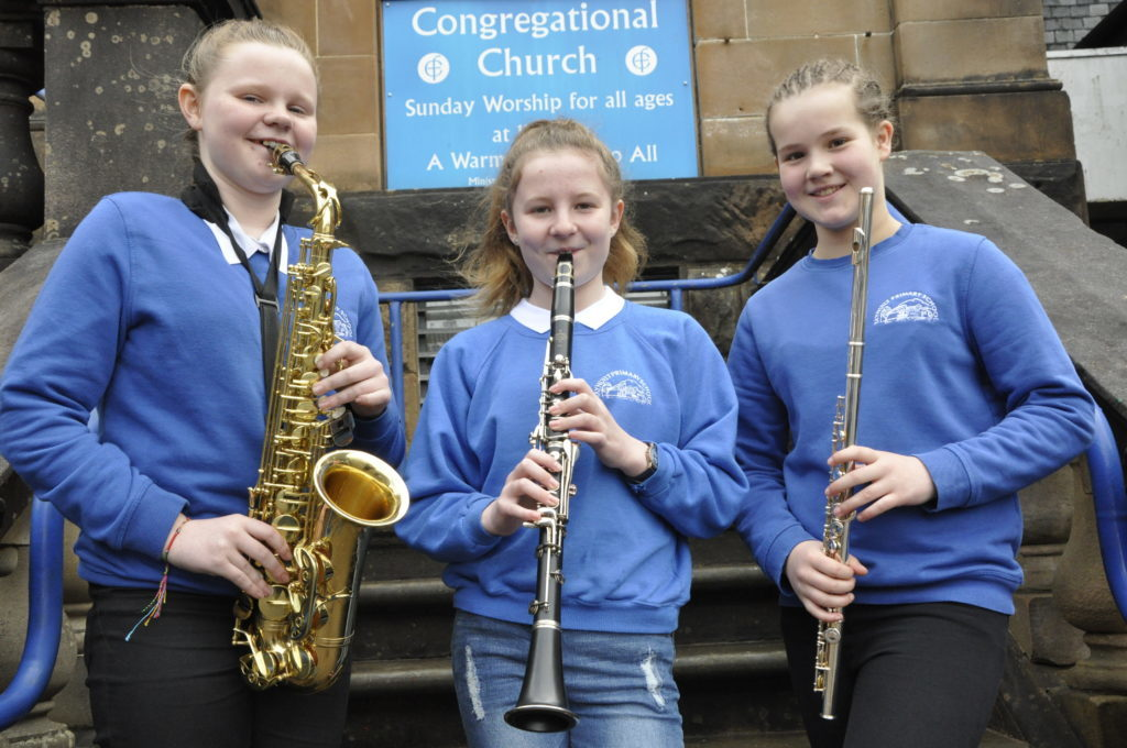 Aisling Duncan, Gemma Carswell and Lauren Robinson from Taynuilt Primary School were competing in the woodwind section at the Congregational Church Hall 16_T19_HIMF02-TaynuiltPrimary