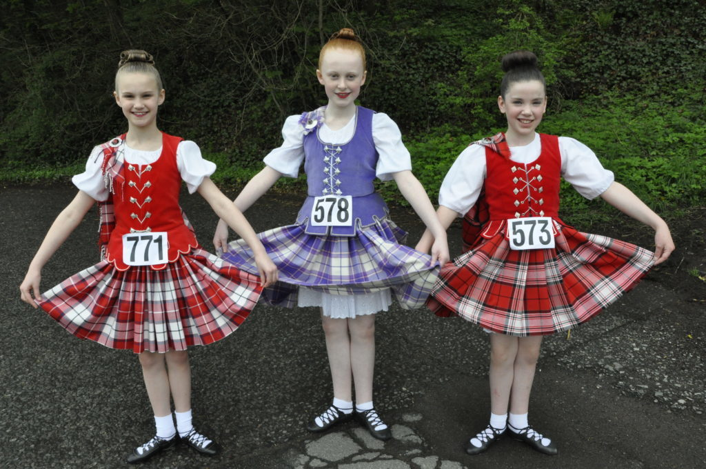 Christina Crawford, Katie Aird and Leah Goodbrand from Baird/Livingston were highland dancing at Atlantis Leisure Centre 16_T19_HIMF06_BairdLivingston