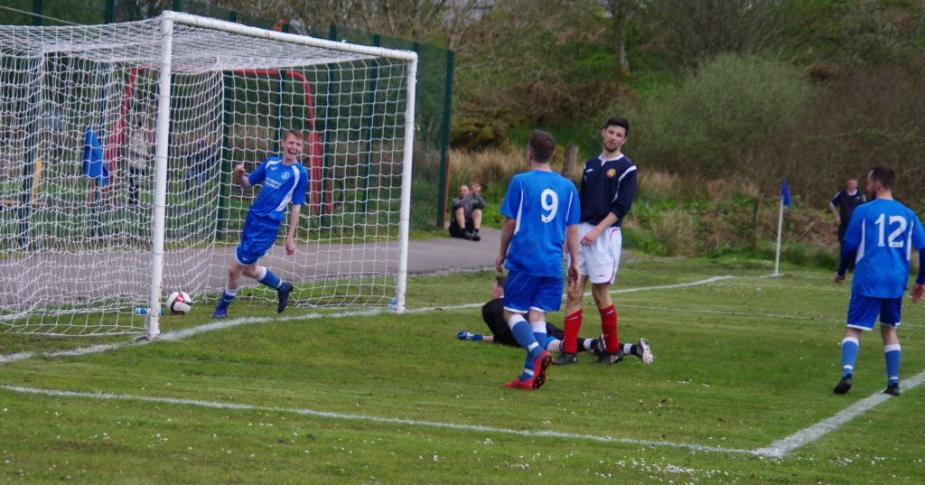 A delighted Scott Soudan knocks home goal number six