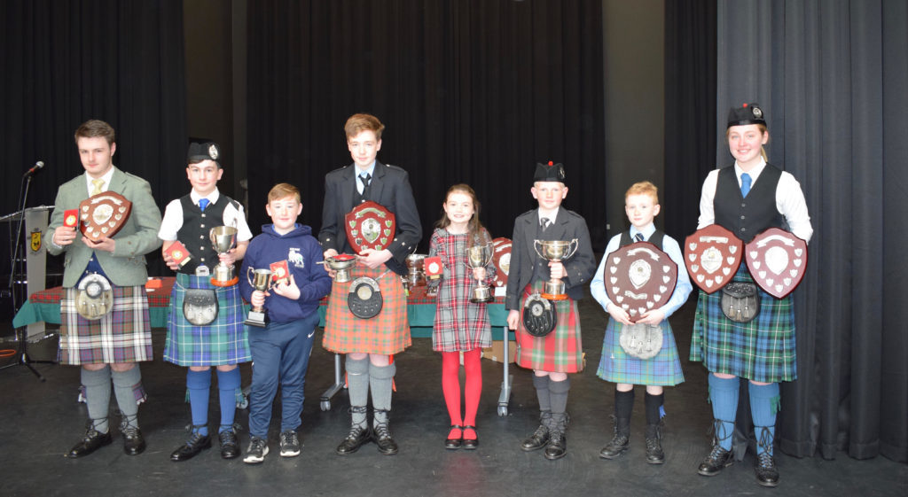 The Netherlorn Piping Society was delighted with the high calibre of the competitors. Pictured are some of the award winners from the Saturday morning competitions in Junior Solo Piping and Chanter NO_T19_HIMF36_piperswinners