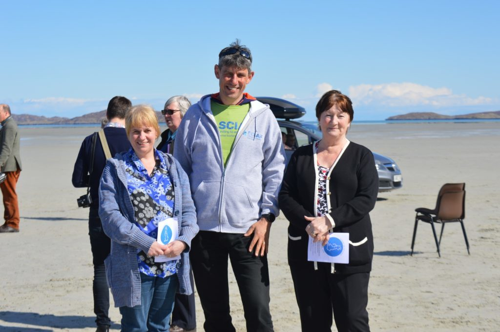 Alistair meeting locals Christina MacNeil and Selina MacLean at Rosary on the Coast event in Barra.