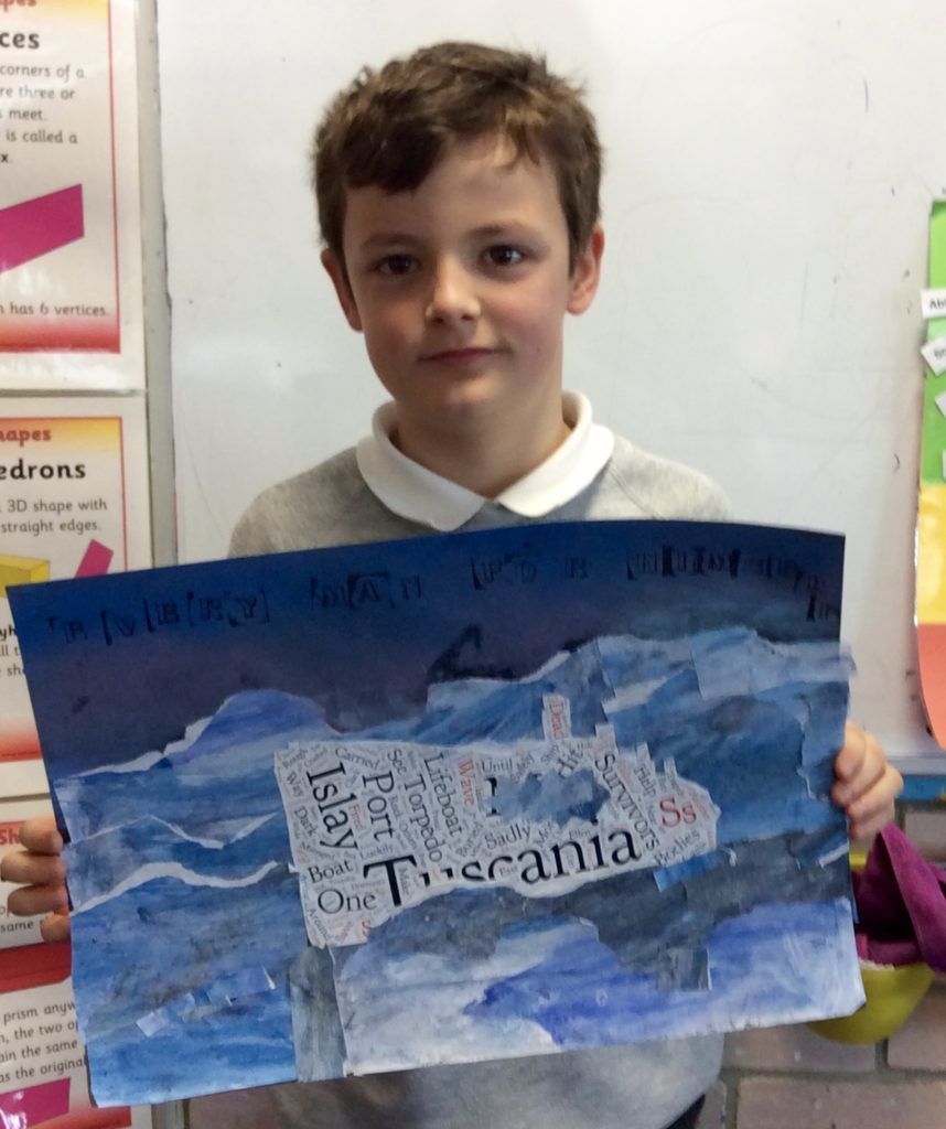 Young Aaron Clarke shows off a painting he did of the tragic Tuscania.