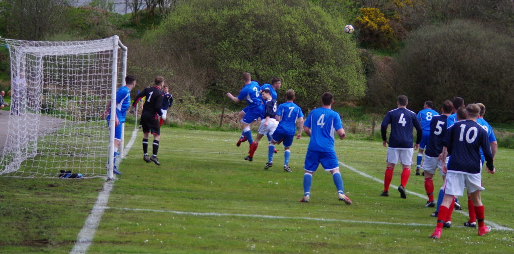 Argyll's Scott Maitland heads this corner clear.