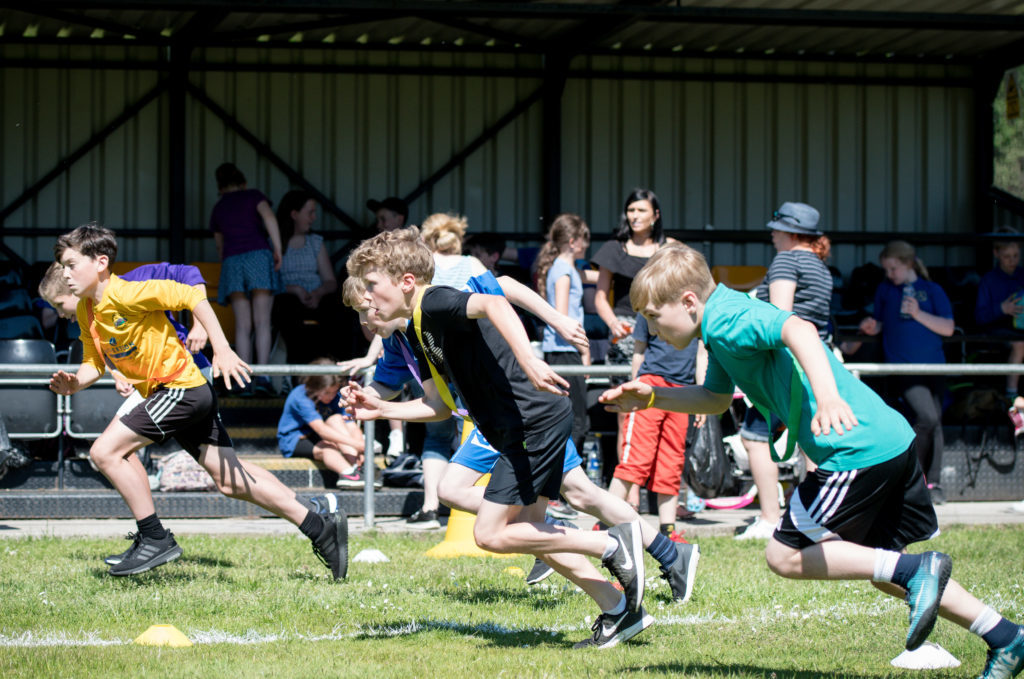 Quick off the line in the boy's 100m sprint. JP F23 Inter Schools 01