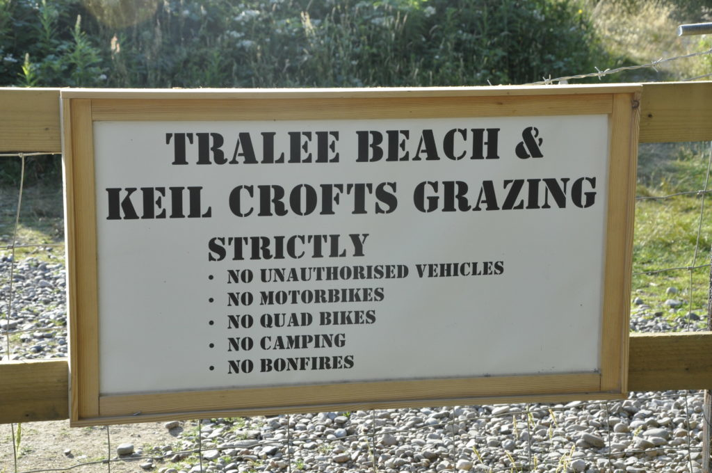Tralee Beach and Keil Crofts sign