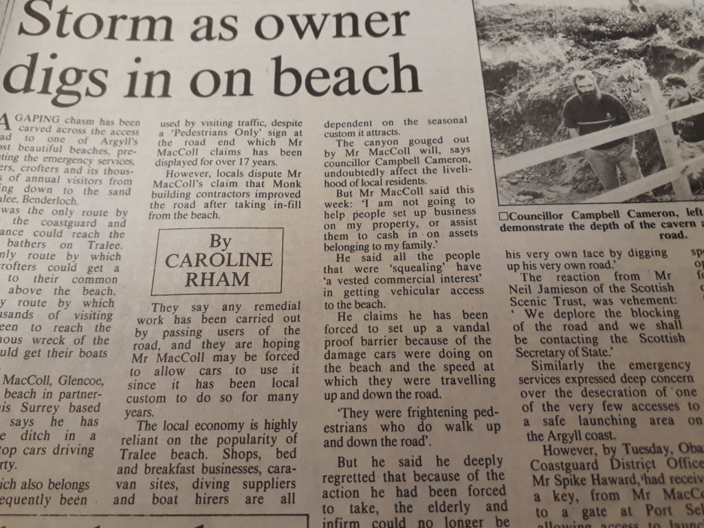 One of the Oban Times headlines from a land dispute at Tralee Beach in the 1980s