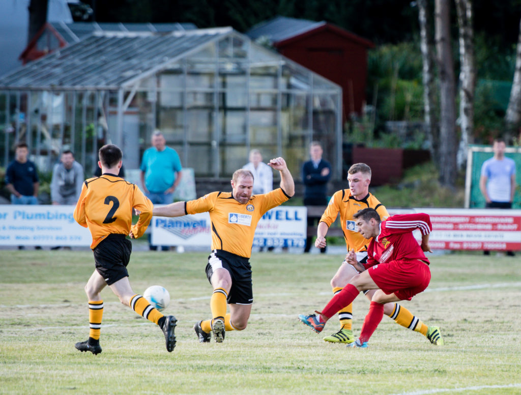Danny MacIntosh opens the scoring in the first ever match between the two Lochaber teams. NO F30 Fort SLT 01