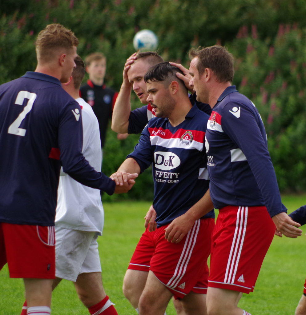 Matty Rippon is congratualted by Dene Cassells, Paul Carmichael and Willie Gemmell after opening the scoring against Red Star in the final.
