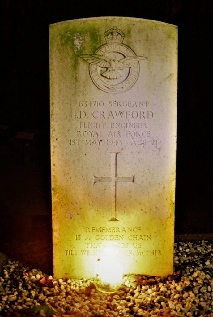 The poignant headstone of Flight Engineer Ian Crawford.