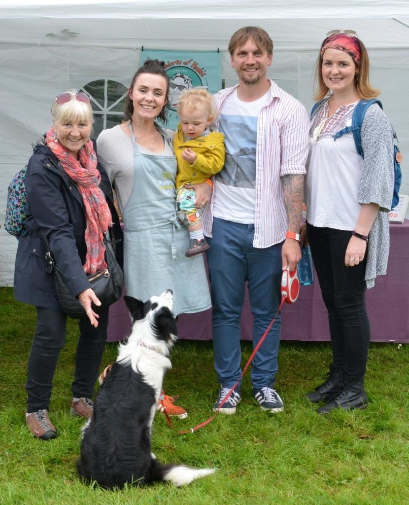 Sleat's Rosie MacDonald (left) with daughter-in-law Laura Rankin, grandson Eòghainn Rankin, son Graeme Rankin, Sarah-Jane Anderson and Dot the dog.