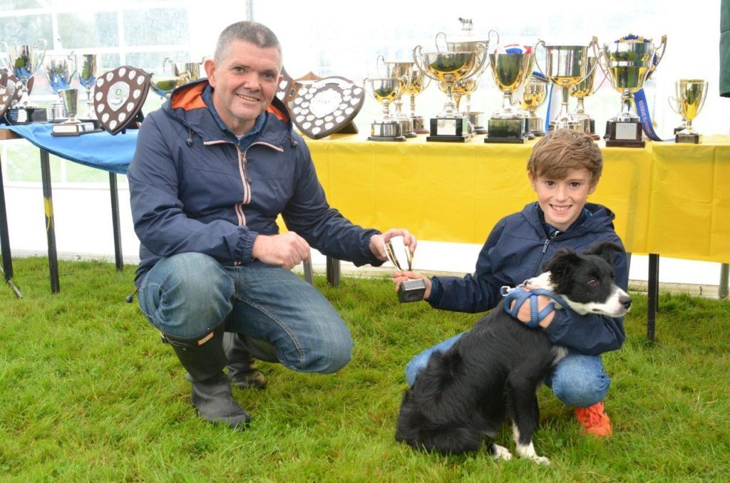 Councillor John Gordon handed out the trophies in the Scottish Agricultural Society tent in the afternoon. He is pictured with best boy handler Eoghan with his dog Lily.