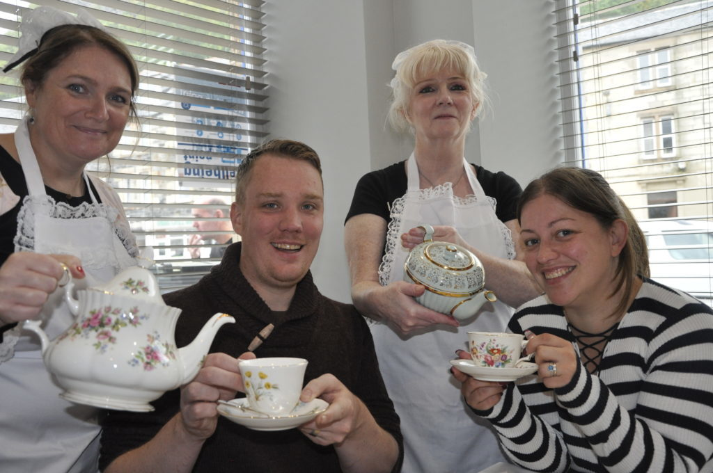 Paul and Rachel Smith from Preston celebrated their fifth wedding annviersary with a lavender tea at Hope Kitchen served by Lorraine MacCormick and Fiona Ferris.